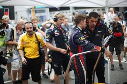 Sebastian Vettel, Red Bull Racing with Guillaume Rocquelin , Red Bull Racing Race Engineer