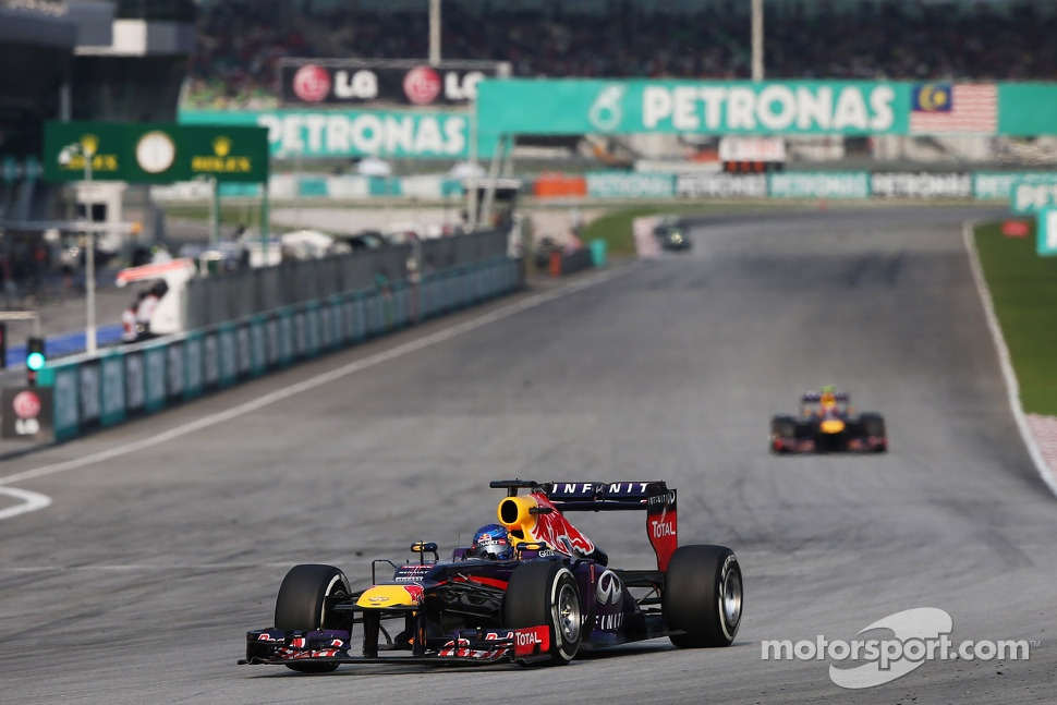 Sebastian Vettel, Red Bull Racing RB9 leads the race from Mark Webber, Red Bull Racing RB9