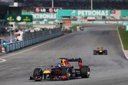 Sebastian Vettel, Red Bull Racing RB9 leads the race from Mark Webber, Red Bull Racing RB9