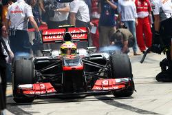 Sergio Perez, McLaren MP4-28 leaves the pits