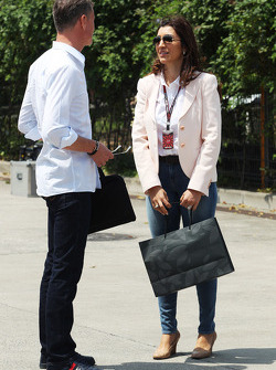David Coulthard, Red Bull Racing and Scuderia Toro Advisor / BBC Television Commentator with Fabiana Flosi, CEO Formula One Group