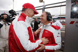 Tom Kristensen celebrates with Dr. Wolfgang Ullrich
