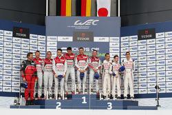 Podium: overall winners Tom Kristensen, Allan McNish, Loic Duval, second place Marcel Fässler, Benoit Tréluyer, Andre Lotterer, third place Sebastien Buemi, Anthony Davidson, Stéphane Sarrazin