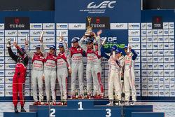 LMP1 Podium: First Place Tom Kristensen, Loic Duval, Allan McNish; Second Place Andre Lotterer, Benoit Tréluyer, Marcel Fässler; Third Place Anthony Davidson, Sebastien Buemi, Stéphane Sarrazin