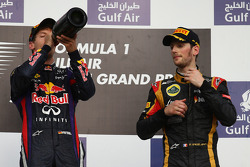 Sebastian Vettel, Red Bull Racing and Romain Grosjean, Lotus F1 E21