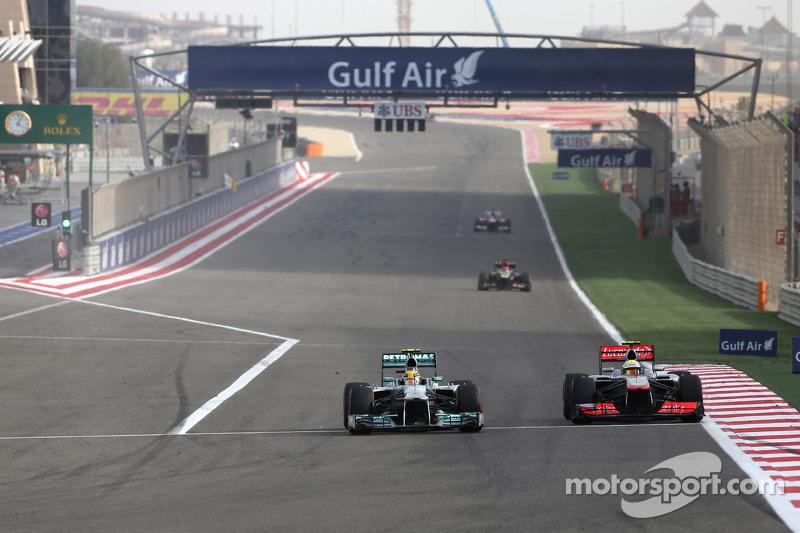 Lewis Hamilton, Mercedes Grand Prix and Sergio Perez, McLaren Mercedes