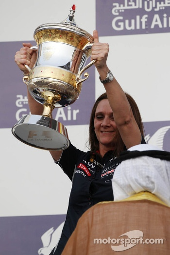 Gill Jones, Red Bull Racing Electronics celebrates on the podium