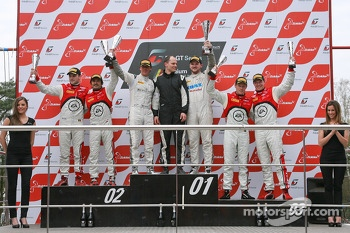 Podium: race winners Peter Kox, Stefan Rosina, second place Stéphane Ortelli, Laurens Vanthoor, third place Frank Stippler, Edward Sandström
