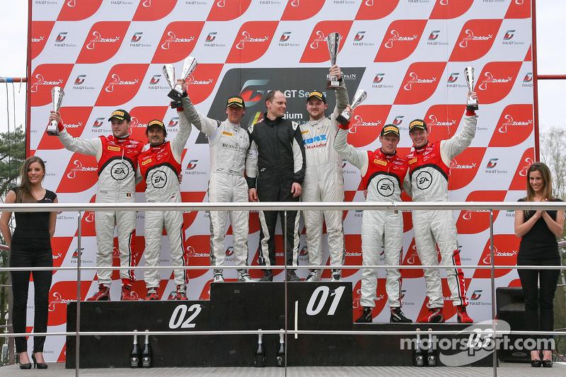 Podium: race winners Peter Kox, Stefan Rosina, second place Stéphane Ortelli, Laurens Vanthoor, third place Frank Stippler, Edward Sandström