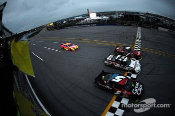 Regan Smith, Joey Logano and Kasey Kahne take the checkered flag