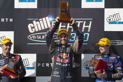 Podium: race winner Craig Lowndes, Red Bull Holden, second place Jamie Whincup, Red Bull Holden, third place Mark Winterbottom, FPR Ford