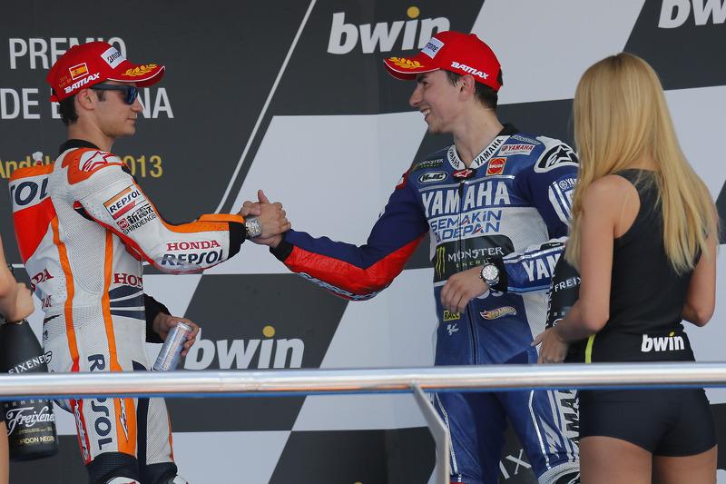 Podium: race winner Dani Pedrosa, Repsol Honda Team, third place Jorge Lorenzo, Yamaha Factory Racing