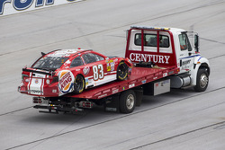 David Reutimann, BK Racing Toyota after a huge crash