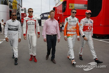 (L to R): Lewis Hamilton, Mercedes AMG F1 with Max Chilton, Simon Lazenby, Sky Sports F1 TV Presenter; Paul di Resta, Sahara Force India F1; and Jenson Button, McLaren
