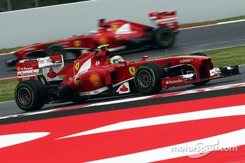 Felipe Massa, Ferrari leads team mate Fernando Alonso, Ferrari