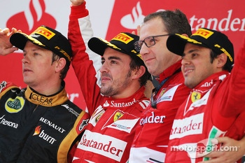 The podium, Lotus F1 Team, second; Fernando Alonso, Ferrari, race winner; Stefano Domenicali, Ferrari General Director; Felipe Massa, Ferrari, third