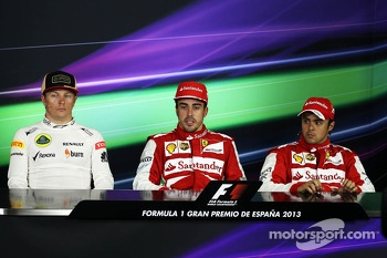 The FIA Press Conference, Lotus F1 Team, second; Fernando Alonso, Ferrari, race winner; Felipe Massa, Ferrari, third