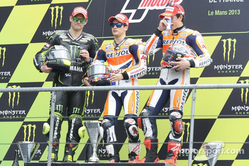 Race winner Dani Pedrosa, Repsol Honda Team, second place Cal Crutchlow, Monster Yamaha Tech 3, third place Marc Marquez, Repsol Honda Team
