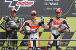 Race winner Dani Pedrosa, Repsol Honda Team, second place Cal Crutchlow, Monster Yamaha Tech 3, third place Marc Marquez, Repsol Honda Team