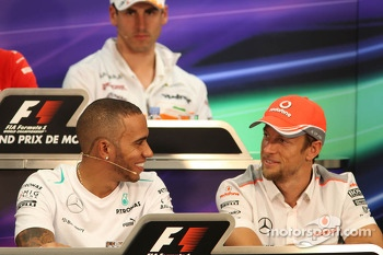 (L to R): Lewis Hamilton, Mercedes AMG F1 with Jenson Button, McLaren in the FIA Press Conference