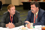 Bud Moore talks with NASCAR President Mike Helton