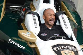 NHRA driver Antron Brown tries out Ed Carpenter's pole winning car