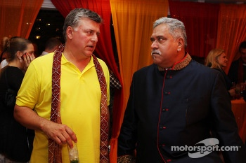 (L to R): Otmar Szafnauer, Sahara Force India F1 Chief Operating Officer with Dr. Vijay Mallya, Sahara Force India F1 Team Ownerat the Signature F1 Monaco Party