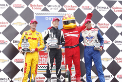 Race winner Mike Conway, Dale Coyne Racing Honda, second place Ryan Hunter-Reay, Andretti Autosport, third place Justin Wilson, Dale Coyne Racing Honda