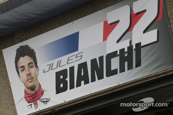 Pit garage sign for Jules Bianchi, Marussia F1 Team