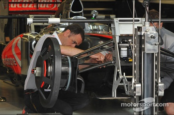 McLaren MP4-28 prepared in the pits