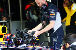 Sebastian Vettel, Red Bull Racing RB9 with a choice of steering wheels