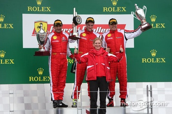 Trofeo Pirelli podium: winner Onofrio Triarsi, second place #8 Ferrari of Fort Lauderdale, third place Emmanuel Anassis