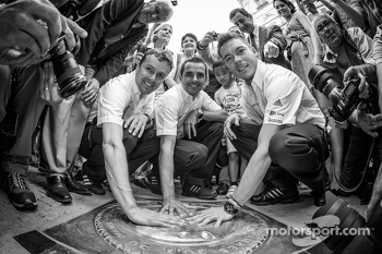 Hand imprint ceremony: 2012 24 Hours of Le Mans winners Marcel Fässler, Andre Lotterer and Benoit Tréluyer