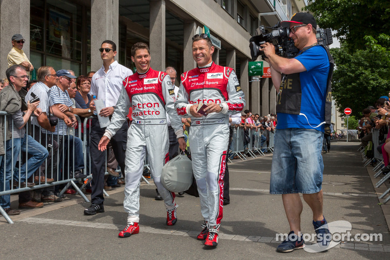 Tom Kristensen and Loic Duval arriving at Scrutineering