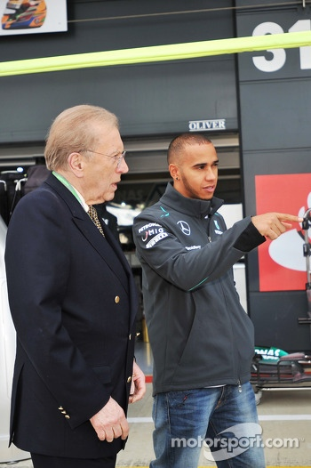 Lewis Hamilton, Mercedes AMG F1 with Sir David Frost, Broadcaster.