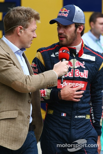 Jean-Eric Vergne, Scuderia Toro Rosso with Simon Lazenby, Sky Sports F1 TV Presenter