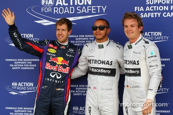 The top three qualifiers in Parc Ferme, Red Bull Racing, third; Lewis Hamilton, Mercedes AMG F1, pole position; Nico Rosberg, Mercedes AMG F1, second