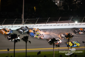 Travis Pastrana crashes with Jason White and Jeffrey Earnhardt