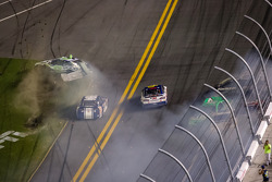 Multi-car wreck at the finish line