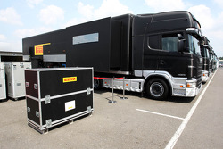 Pirelli trucks in the paddock