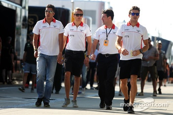 (L to R): Rodolfo Gonzalez, Marussia F1 Team Reserve Driver with Max Chilton, Marussia F1 Team; Dave O'Neill, Marussia F1 Team Manager; and Jules Bianchi, Marussia F1 Team