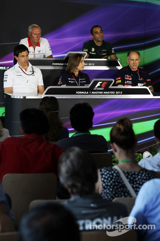 The FIA Press Conference: John Booth, Marussia F1 Team Team Principal; Cyril Abiteboul, Caterham F1 Team Principal; Toto Wolff, Mercedes AMG F1 Shareholder and Executive Director; Claire Williams, Williams Deputy Team Principal; Franz Tost, Scuderia Toro