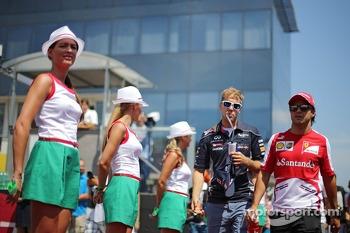 (L to R): Sebastian Vettel, Red Bull Racing and Felipe Massa, Ferrari on the drivers parade