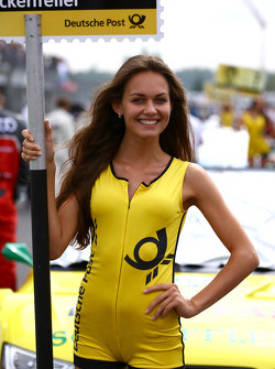 Grid girl of Mike Rockenfeller, Audi Sport Team Phoenix Racing Audi A5 DTM