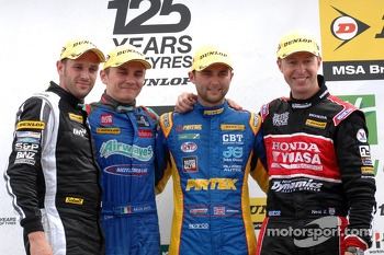 Round 17 Podium; 1st Andrew Jordan, 2nd Matt Neal, 3rd Aron Smith, JST Winner Lea Wood