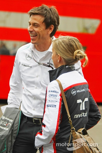Toto Wolff, Mercedes AMG F1 Shareholder and Executive Director with his wife Susie Wolff, Williams Development Driver