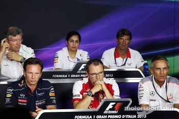 The FIA Press Conference, Mercedes AMG F1 Team Principal; Monisha Kaltenborn, Sauber Team Principal; Graeme Lowdon, Marussia F1 Team Chief Executive Officer; Christian Horner, Red Bull Racing Team Principal; Stefano Domenicali, Ferrari General Director; M
