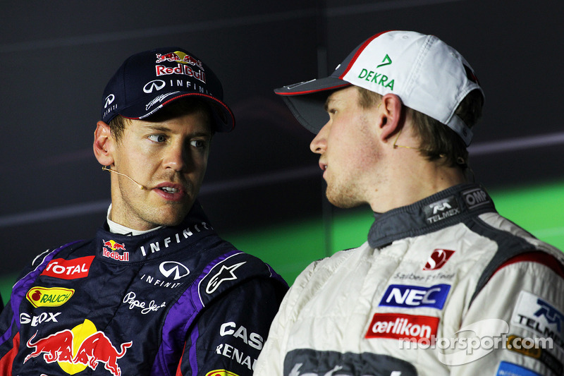 Sebastian Vettel, Red Bull Racing and Nico Hulkenberg, Sauber in the FIA Press Conference