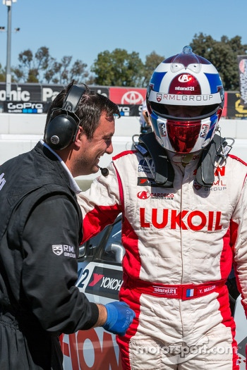 Yvan Muller hoping out of car after losing pole
