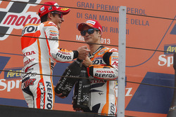 Second place Marc Marquez and third place Dani Pedrosa